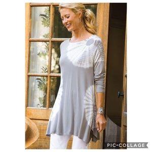SOFT SURROUNDINGS | Gray Tie Dye Tunic Dress M07